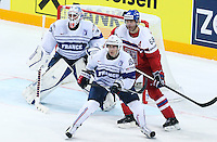 Jaromir Jagr / Yohann Auvitu / Floriant Hardy - 07.05.2015 - Republique Tcheque / France - Championnat du Monde de Hockey sur Glace <br />Photo : Xavier Laine / Icon Sport