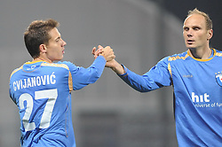 Goran Cvijanovic and Milan Osterc of Gorica celebrate at football match of 35th Round of 1st Slovenian League between NK Hit Gorica and NK Nafta, on May 11, 2010, in Sportni park, Nova Gorica, Slovenia. (Photo by foto-forma/ Sportida)