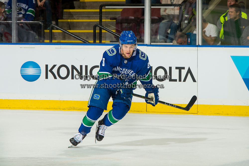 KELOWNA, BC - SEPTEMBER 29:  Brendan Leipsic #9 of the Vancouver Canucks skates against the Arizona Coyotes at Prospera Place on September 29, 2018 in Kelowna, Canada. (Photo by Marissa Baecker/NHLI via Getty Images)  *** Local Caption *** Brendan Leipsic