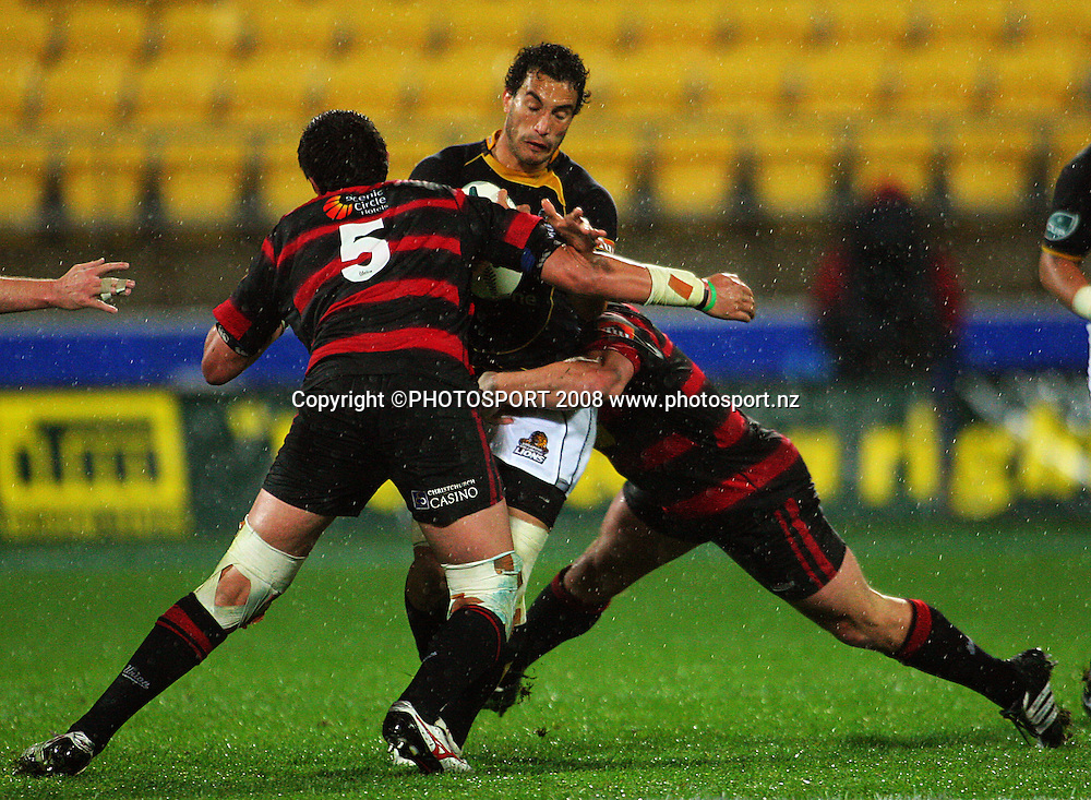 Isaac Ross and Corey Flynn double-team Tane Tu'ipulotu.<br /> Air NZ Cup Final, Wellington v Canterbury, Westpac Stadium, Wellington, New Zealand. Saturday 25th October 2008.  Photo: Dave Lintott/PHOTOSPORT