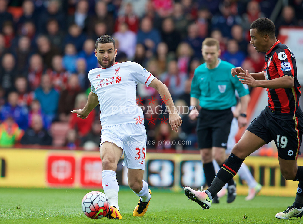 BOURNEMOUTH, ENGLAND - Sunday, April 17, 2016: Liverpool's Kevin Stewart in action against Bournemouth during the FA Premier League match at Dean Court. (Pic by David Rawcliffe/Propaganda)