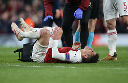 Lucas Torreira of Arsenal receives treatment for a knock - Mandatory by-line: Arron Gent/JMP - 02/05/2019 - FOOTBALL - Emirates Stadium - London, England - Arsenal v Valencia - UEFA Europa League Semi-Final 1st Leg