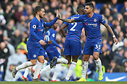 GOAL 1-1 Chelsea midfielder Eden Hazard (10) scores and celebrates with Chelsea defender Emerson Palmieri (33) the Premier League match between Chelsea and Wolverhampton Wanderers at Stamford Bridge, London, England on 10 March 2019.
