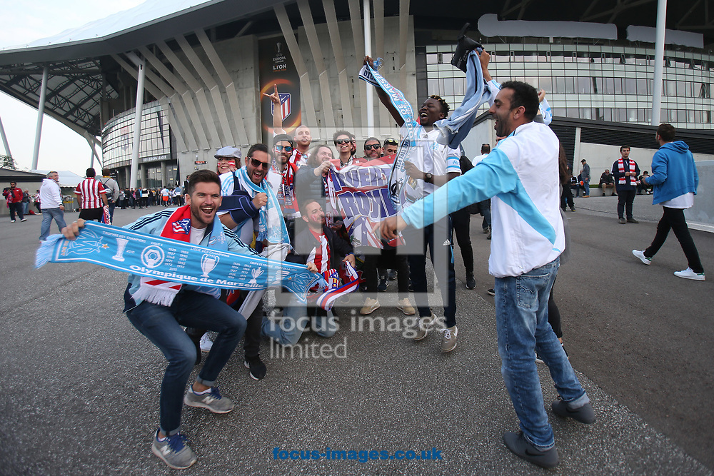 The Atletico Madrid and Marseille fans before the UEFA Europa League Final match at Stade de Lyons, Lyons<br /> Picture by Paul Chesterton/Focus Images Ltd +44 7904 640267<br /> 16/05/2018