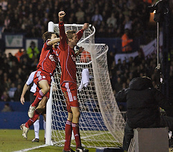 LUTON, ENGLAND - Sunday, January 6, 2008: Liverpool's Peter Crouch celebrates scoring against Luton Town with team-mate Yossi Benayoun during the FA Cup 3rd Round match at Keniworth Road. (Photo by David Rawcliffe/Propaganda)