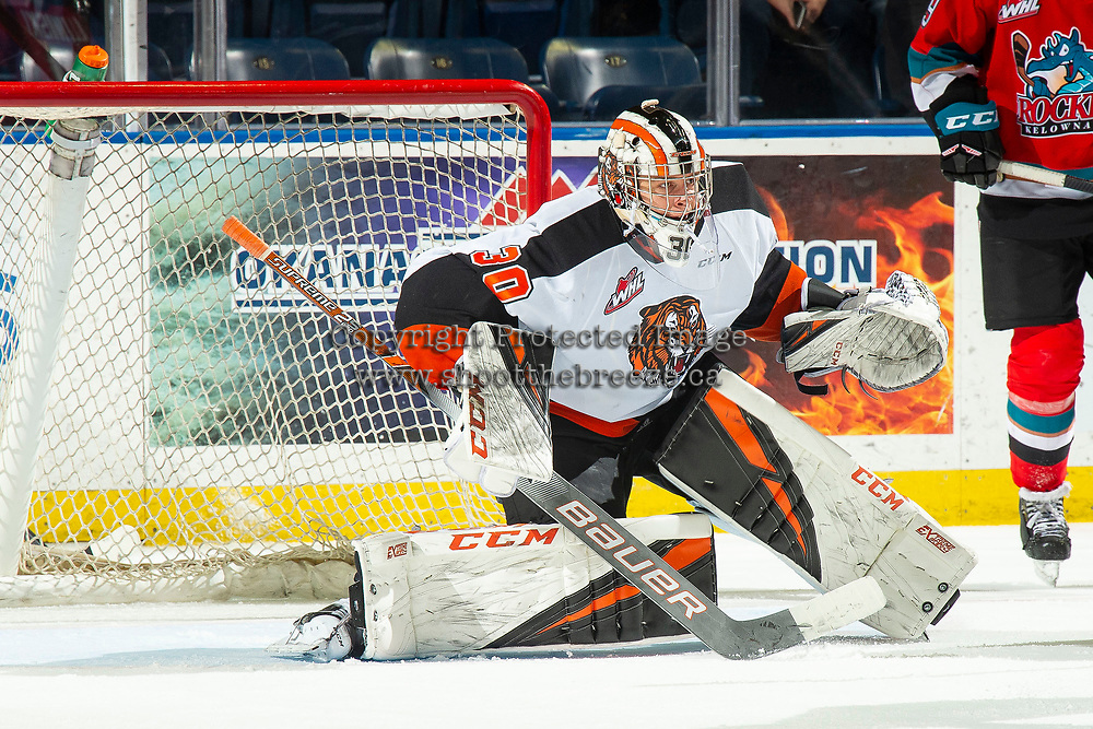 KELOWNA, BC - NOVEMBER 8:  Mads Søgaard #30 of the Medicine Hat Tigers defends the net against the Kelowna Rockets at Prospera Place on November 8, 2019 in Kelowna, Canada. (Photo by Marissa Baecker/Shoot the Breeze)