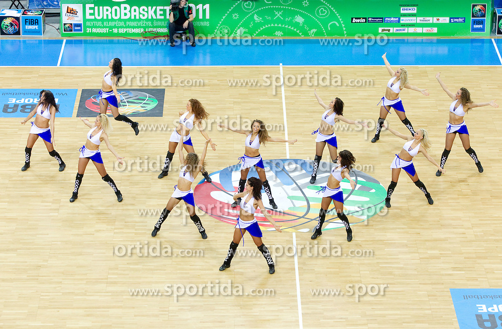Cheerleaders during basketball game between National basketball teams of Slovenia and Serbia in 7th place game of FIBA Europe Eurobasket Lithuania 2011, on September 17, 2011, in Arena Zalgirio, Kaunas, Lithuania. Slovenia defeated Serbia 72 - 68 and placed 7th. (Photo by Vid Ponikvar / Sportida)