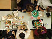 overhead view of people eating.