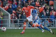 Bright Osavi-Samuel (Blackpool) runs in on goal during the EFL Sky Bet League 2 match between Blackpool and Hartlepool United at Bloomfield Road, Blackpool, England on 25 March 2017. Photo by Mark P Doherty.