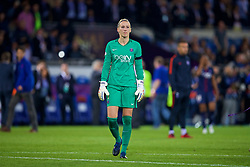 CARDIFF, WALES - Thursday, June 1, 2017: Paris Saint-Germain's goalkeeper Katarzyna Kiedrzynek looks dejected after her missed penalty handed Olympique Lyonnais the cup during a 7-6 penalty shoot out defeat in the UEFA Women's Champions League Final between Olympique Lyonnais and Paris Saint-Germain FC at the Cardiff City Stadium. (Pic by David Rawcliffe/Propaganda)