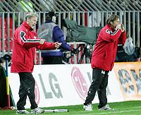 Fotball / Soccer<br /> Play off VM 2006 / Play off World Champio0nships 2006<br /> Tsjekkia v Norge 1-0<br /> Czech Republic v Norway 1-0<br /> Agg: 2-0<br /> 16.11.2005<br /> Foto: Morten Olsen, Digitalsport<br /> <br /> Åge Hareide and Stig Inge Bjørnebye