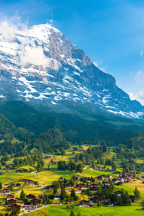 The town of Grindelwald beneath the Eiger mountain North Wall in the Swiss Alps in the Bernese Oberland, Switzerland