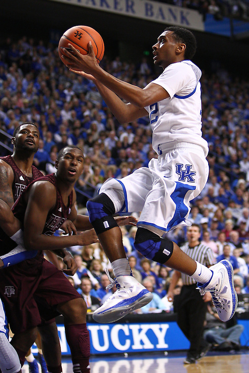 UK guard Ryan Harrow drives to the basket in the second half. The University of Kentucky Men's Basketball team hosted Texas A&M , Saturday, Jan. 12, 2013 at Rupp Arena in Lexington . Photo by Jonathan Palmer/Special to the Courier-Journal.