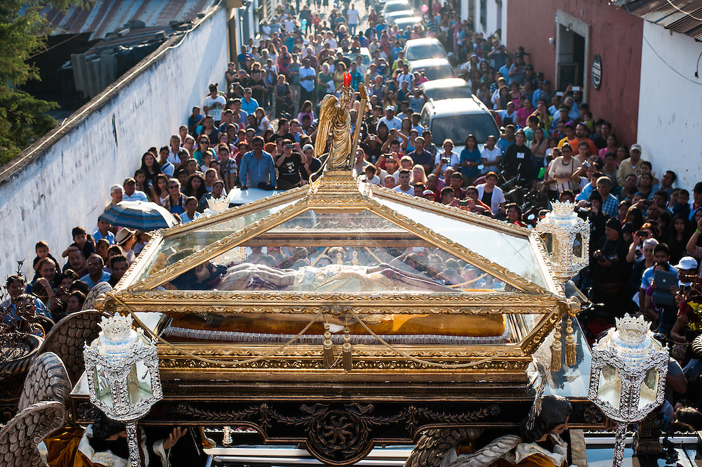 A statue of a slain Jesus Christ is carried down the streets of Antigua, Guatemala on Good Friday.
