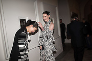 CAROLINE ISSA; ERIN O'CONNOR, Vogue100 A Century of Style. Hosted by Alexandra Shulman and Leon Max. National Portrait Gallery. London. WC2. 9 February 2016.