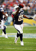 San Diego Chargers tight end Antonio Gates (85) one hand catches a second quarter pass good for a first down at the New York Jets 16 yard line during an AFC Divisional Playoff game against the New York Jets, January 17, 2010 in San Diego, California. The Jets won the game 17-14. ©Paul Anthony Spinelli