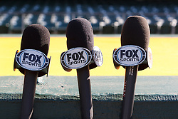OAKLAND, CA - APRIL 29:  Detailed view of Fox Sports microphones outside the dugout before the game between the Oakland Athletics and the Los Angeles Angels of Anaheim at O.co Coliseum on April 29, 2015 in Oakland, California. The Los Angeles Angels of Anaheim defeated the Oakland Athletics 6-3. (Photo by Jason O. Watson/Getty Images) *** Local Caption ***