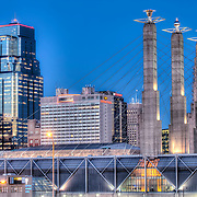 Downtown Kansas City MO skyline and convention center pylons from 16th and Jefferson.