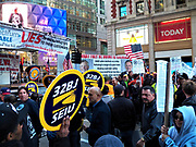 Spectrum Workers rally in New York City for healthcare &amp; retirement benefits<br />