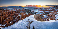 Panoramic view of Bryce Canyon National Park at sunrise from an area near Inspiration Point on a Winter morning.