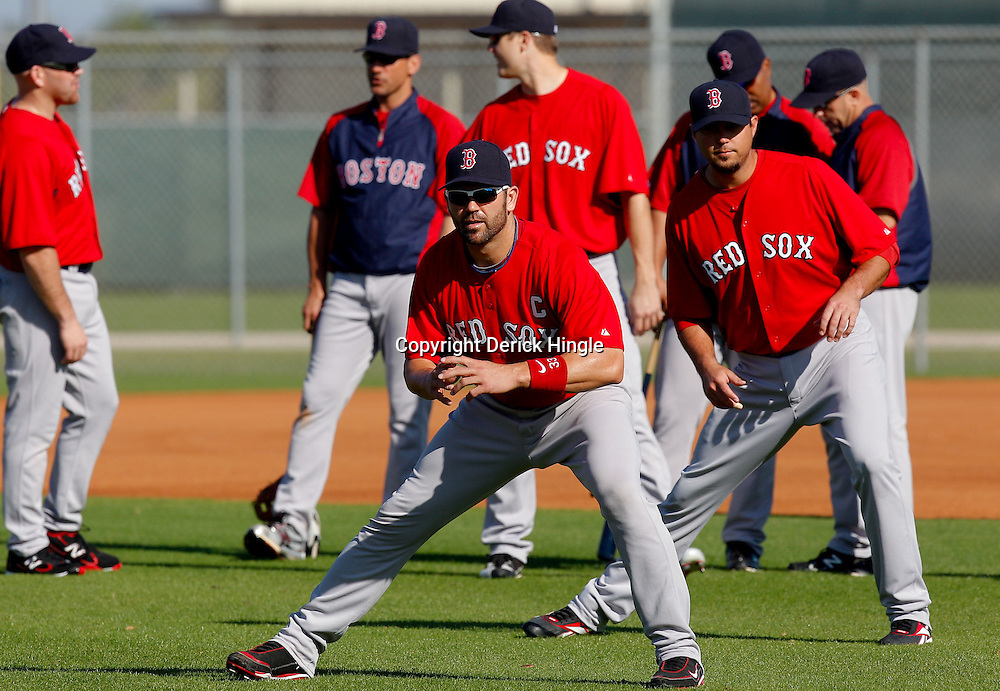 February 23, 2011; Fort Myers, FL, USA; Boston Red Sox catcher Jason Varitek (33) stretches during spring training at the Player Development Complex.  Mandatory Credit: Derick E. Hingle