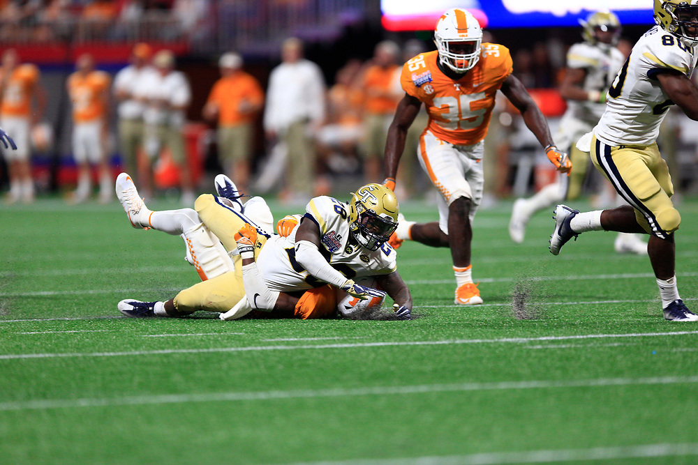 during the second half of the Chick-fil-A Kickoff NCAA football game on Monday, September 4, 2017, in Atlanta. Tennessee won in two overtimes, 42-41. (Paul Abell via Abell Images for Chick-fil-A Kickoff Game)