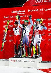 27.01.2015, Planai, Schladming, AUT, FIS Skiweltcup Alpin, Schladming, Siegerehrung, im Bild von links Stefano Gross (ITA), Alexander Khoroshiov (RUS) und Felix Neureuther (GER) // from left Stefano Gross (ITA), Alexander Khoroshiov (RUS) and Felix Neureuther (GER) during the prize giving ceremony of the men's slalom of Schladming FIS Ski Alpine World Cup at the Planai Course in Schladming, Austria on 2015/01/27, EXPA Pictures © 2015, PhotoCredit: EXPA/ Erwin Scheriau