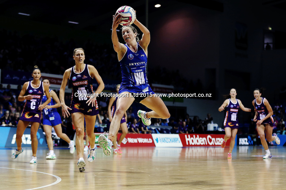 Camilla Lees of the Mystics in action. 2015 ANZ Championship, Northern Mystics v Queensland Firebirds, The Trusts Arena, Auckland, New Zealand. 26 April 2015. Photo: Anthony Au-Yeung / www.photosport.co.nz