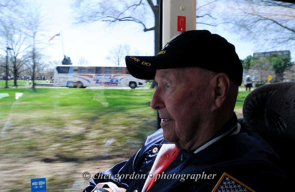 WWII Veterans and their escorts onboard the Hudson Valley Honor Flight at the United States Marine Corps War Memorial in Arlington, VA on Saturday, April 11, 2015. Nearly 100 Veterans from the Orange County (NY) region toured the WWII, Korean, Vietnam, and USMC War Memorials, as well as Arlington National Cemetery. Hudson Valley Honor Flight is a chapter of the Honor Flight Network, which provides free flights for WWII Veterans and tours of the WWII Memorial constructed in their honor, and other sites in the nation's capital.  © Chet Gordon for Hudson Valley Honor Flight