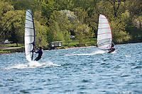 Windsurfers enjoy a steady spring breeze on Lake Calhoun, Minneapolis, Minnesota.