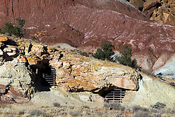 Boarded up mine entrances, near Scenic Drive, Capitol Reef National Park, Utah, United States of America
