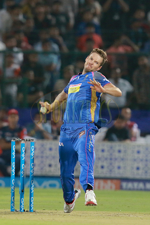 Ben Laughlin of RR bowls during match six of the Vivo Indian Premier League 2018 (IPL 2018) between the Rajasthan Royals and the Delhi Daredevils held at the The Sawai Mansingh Stadium in Jaipur on the 11th April 2018.<br /> <br /> Photo by: Rahul Gulati  SPORTZPICS