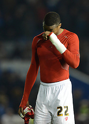 Jonathan Kodjia of Bristol City cuts a dejected figure as his side lose 2-1 - Mandatory byline: Dougie Allward/JMP - 07966 386802 - 20/10/2015 - FOOTBALL - American Express Community Stadium - Brighton, England - Brighton v Bristol City - Sky Bet Championship
