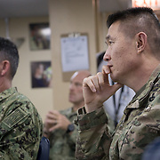 WEDNESDAY, OCTOBER 4- 2017--- - SAN JUAN, PUERTO RICO - <br /> US ARMY Brigadier General Richard Kim, listens to a presentation aboard the US Naval Hospital Ship Comfort at the Port of San Juan where it started treating patients affected by Hurricane Maria.<br /> (Photo by Angel Valentin for NPR)