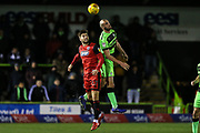 Forest Green Rovers Farrend Rawson(6) heads the ball during the EFL Sky Bet League 2 match between Forest Green Rovers and Grimsby Town FC at the New Lawn, Forest Green, United Kingdom on 22 January 2019.