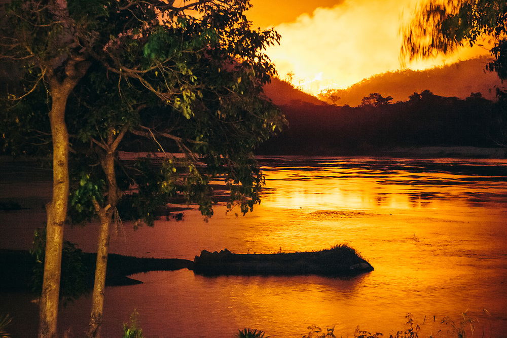 Crops being burned across the Mekong river in Laos