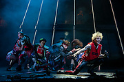 "NEW YORK, NY - AUGUST 1, 2019: Andrew Polec, in foreground right, with, in background from left: Harper Miles, Tyrick Wiltez Jones, Avionce Hoyles, Will Branner and Danielle Steers during a production of ""Bat Out of Hell"" at New York City Center. CREDIT: Emon Hassan for The New York Times"