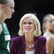 STORRS, CONNECTICUT- NOVEMBER 17: Baylor Head coach Kim Mulkey reacts on the sideline to player Kristy Wallace #4 of the Baylor Bears as the team return to the bench during a timeout in Baylor's loss in the UConn Huskies Vs Baylor Bears NCAA Women's Basketball game at Gampel Pavilion, on November 17th, 2016 in Storrs, Connecticut. (Photo by Tim Clayton/Corbis via Getty Images)