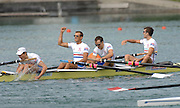 Munich, GERMANY, 0.09.2007,   A Final.  GBR LM4-  celebrate winning the  Gold Medal at the 2007 World Rowing Championships, taking place on the  Munich Olympic Regatta Course, Bavaria. .Line up left james CLARKE, Paul MATTICK, James LINDSAY-Fynn and Richard CHAMBERS.[Mandatory Credit. Peter Spurrier/Intersport Images]. , Rowing Course, Olympic Regatta Rowing Course, Munich, GERMANY