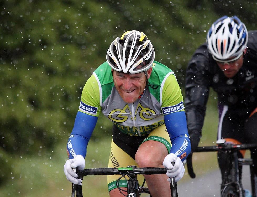Barry Stewart Builders-Gordon McCauley Coaching's Gordon McCauley battles the harsh weather conditions in stage six of the PowerNet Tour of Southland, Gore, New Zealand, Friday, November 04, 2011. Credit:SNPA / Dianne Manson.