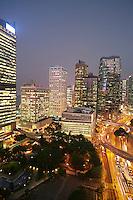 China Hong Kong elevated view of illuminated cityscape