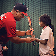 July 18, 2014, Boston, MA:<br /> during a CVS hitting clinic at Fenway Park in Boston, Massachusetts Friday, July 18, 2014.<br /> (Photo by Billie Weiss/Boston Red Sox)