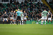 Celtic's Leigh Griffiths scores his side's opener - Celtic v Dundee in the Ladbrokes Scottish Premiership at Celtic Park, Glasgow. Photo: David Young<br /> <br />  - © David Young - www.davidyoungphoto.co.uk - email: davidyoungphoto@gmail.com
