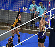 Janesville's Karli Kruse (4) goes up for a kill during the second game of their 1A semifinal match in the state volleyball tournament at the U.S. Cellular Center at 370 1st Ave E on Friday evening, November 12, 2010. (Stephen Mally/Freelance)