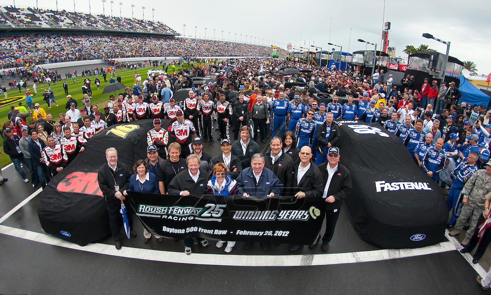 DAYTONA BEACH, FL - Feb 26, 2012:  Roush Fenway Racing poses for a front row photo after taking the first two starting positions for the Daytona 500 at the Daytona International Speedway in Daytona Beach, FL.