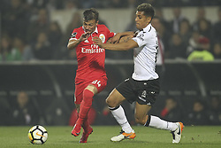 November 5, 2017 - Guimaraes, Guimaraes, Spain - Benfica's Portuguese forward Diogo Goncalves with Vitoria SC's defender Victor García during the Premier League 2017/18 match between Vitoria SC and SL Benfica, at Dao Afonso Henriques Stadium in Guimaraes on November 5, 2017. (Credit Image: © Dpi/NurPhoto via ZUMA Press)