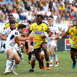Alivereti Raka of Clermont and Apisai Naqalevu of Clermont and Valentin Saurs of Agen during Top 14 match between Clermont and Agen on August 25, 2018 in Perpignan, France. (Photo by Romain Biard/Icon Sport)