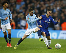 February 24, 2019 - London, England, United Kingdom - Chelsea's Eden Hazard under pressure from Manchester City's Bernardo Silva.during during Carabao Cup Final between Chelsea and Manchester City at Wembley stadium , London, England on 24 Feb 2019. (Credit Image: © Action Foto Sport/NurPhoto via ZUMA Press)