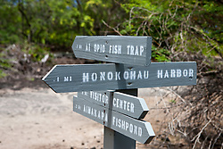 Directional signs, Kaloko-Honokohau National Historical Park, The Big Island, Hawaii, United States of America