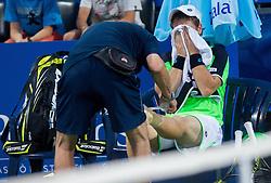 Blaz Kavcic of Slovenia injured during Day One of tennis tournament ATP Challenger Tilia Slovenia Open 2013 on July 2, 2013 in SRC Marina, Portoroz / Portorose, Slovenia. (Photo by Vid Ponikvar / Sportida.com)